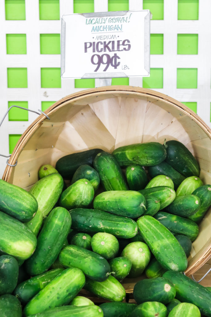 ripened cucumbers at the farmers market