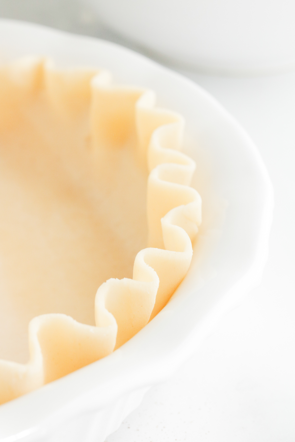Fluted pie crust in white pie plate