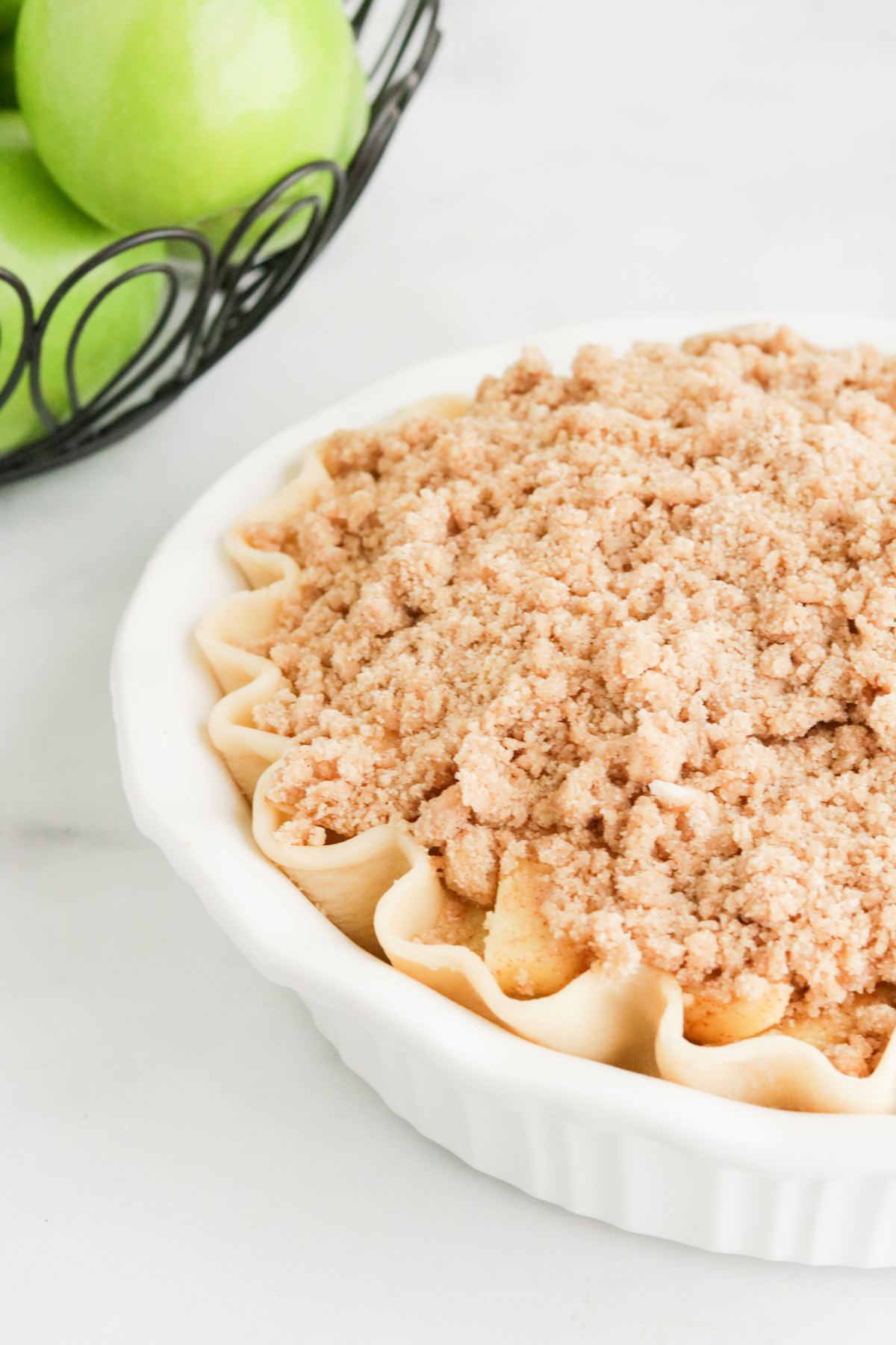 Crumble topping added to top of pie.