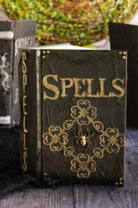 "DIY Spell Book- Picture of a black book with golden embellishments titled ""Spells"""