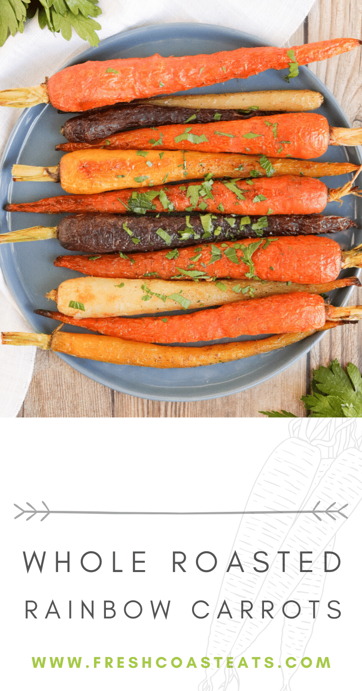 Whole roasted rainbow carrots pinterest image.