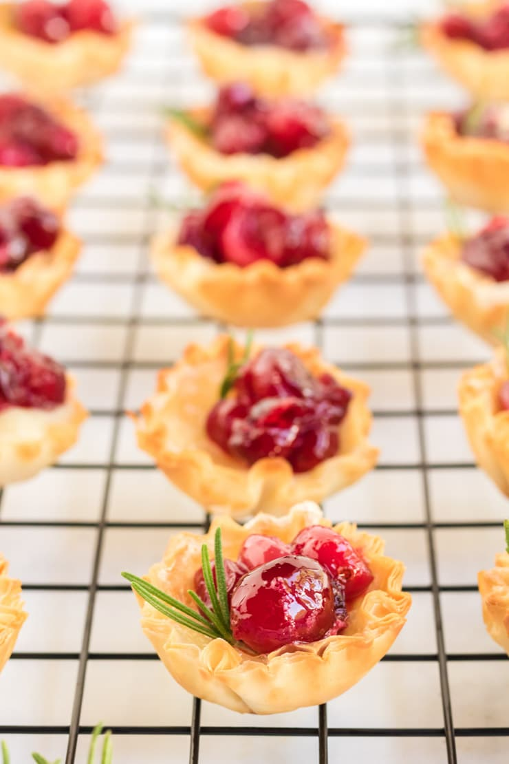 Cranberry Brie Bites: A picture of a phyllo shell filled with brie and cranberries garnished with a sprig of rosemary.