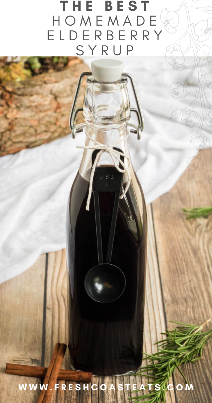 a pinterest image of homemade elderberry syrup