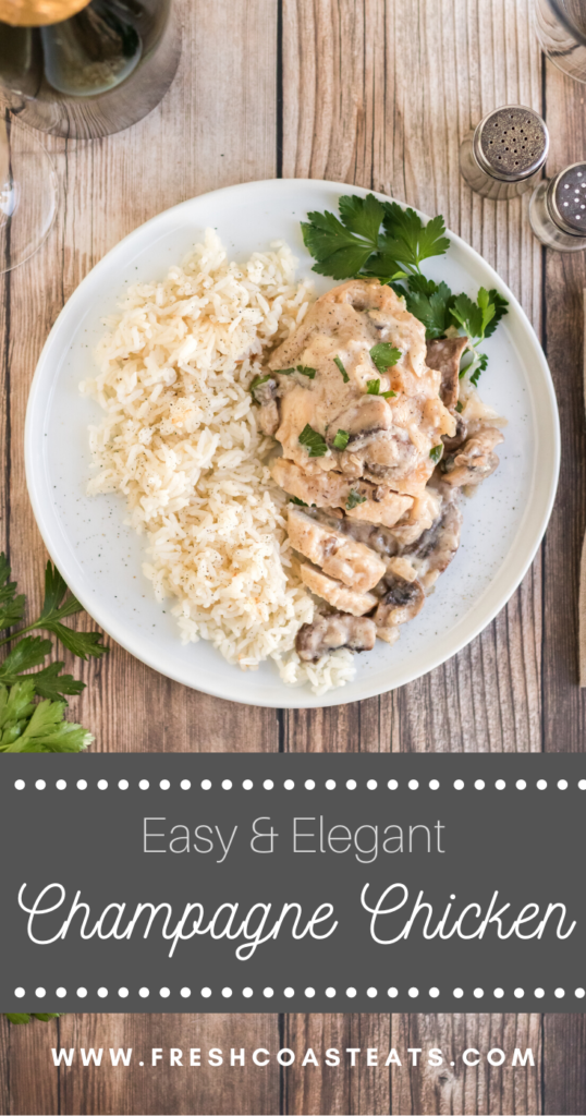 Pinterest image for Champagne Chicken