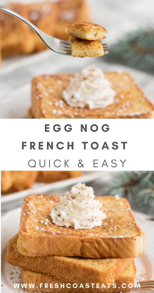 Pinterest image for egg nog french toast