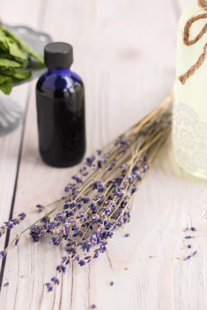 Ingredients to make a lavender mimosa - lavender, lemonade and essential oil.