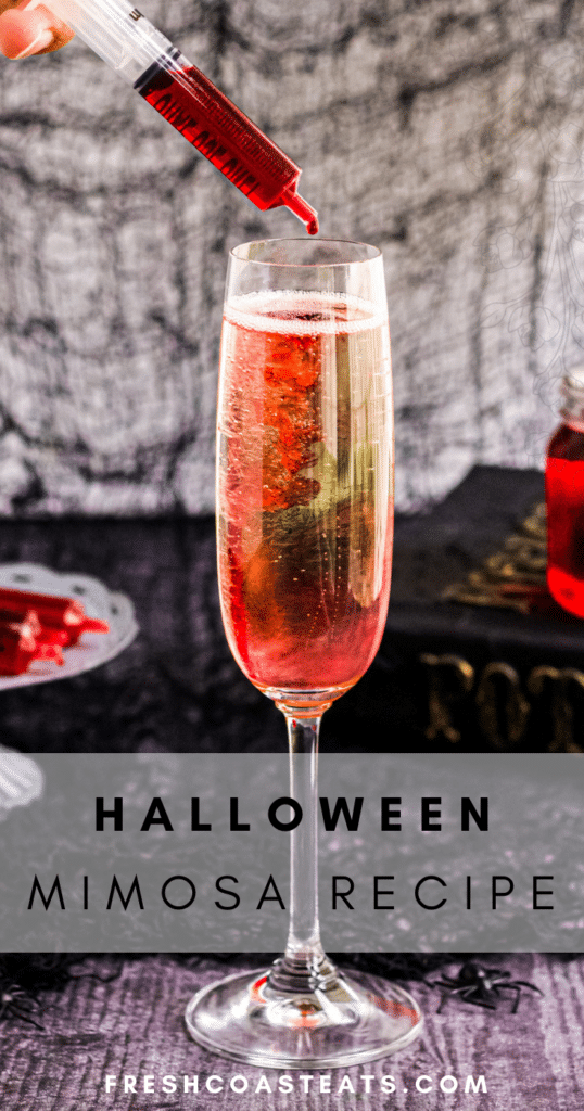 Pinterest Image for Halloween Mimosa Recipe
