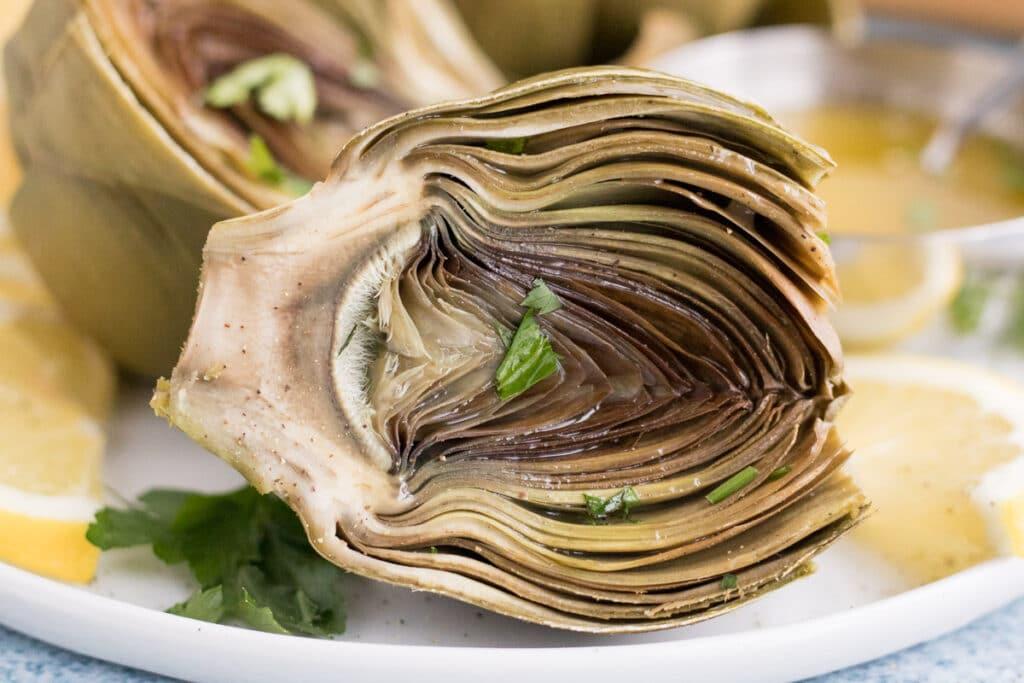 closeup of a cooked instant pot artichoke