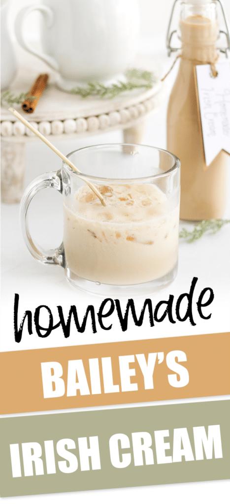 homemade bailey's irish cream in small glass with text that reads homemade bailey's irish cream