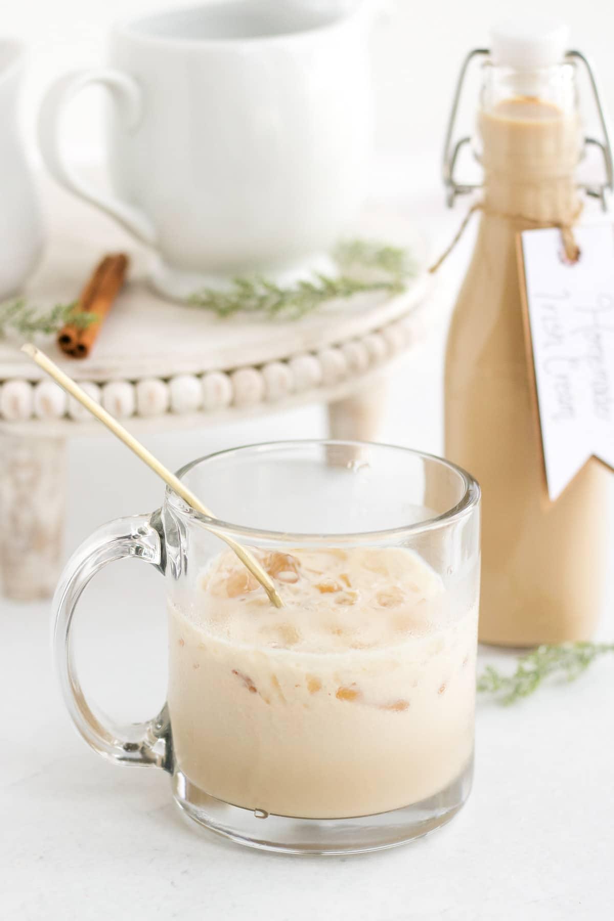 homemade bailey's irish cream in small glass