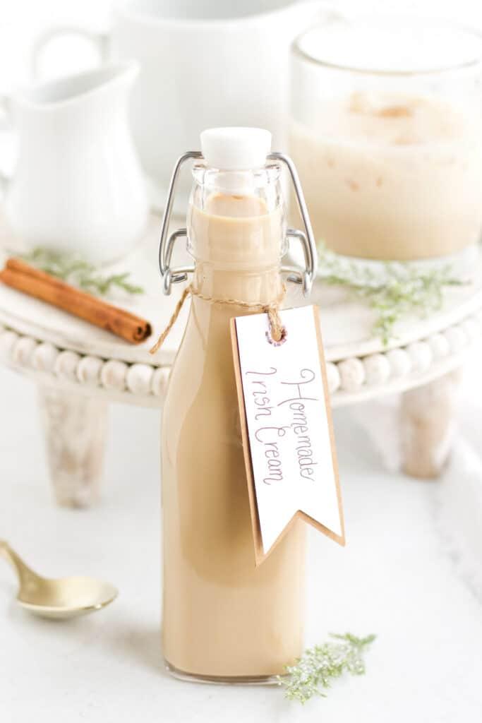 homemade bailey's irish cream in glass bottle