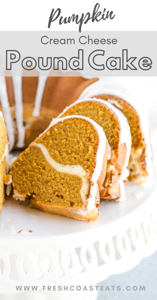 Pinterest image for Pumpkin Cream cheese pound cake
