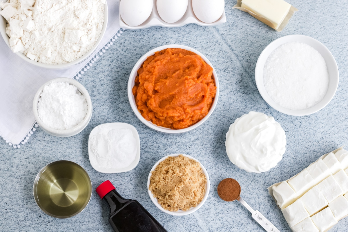 Ingredients for pumpkin cream cheese pound cake
