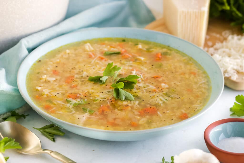served chicken pastina soup