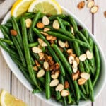 green beans almondine plated