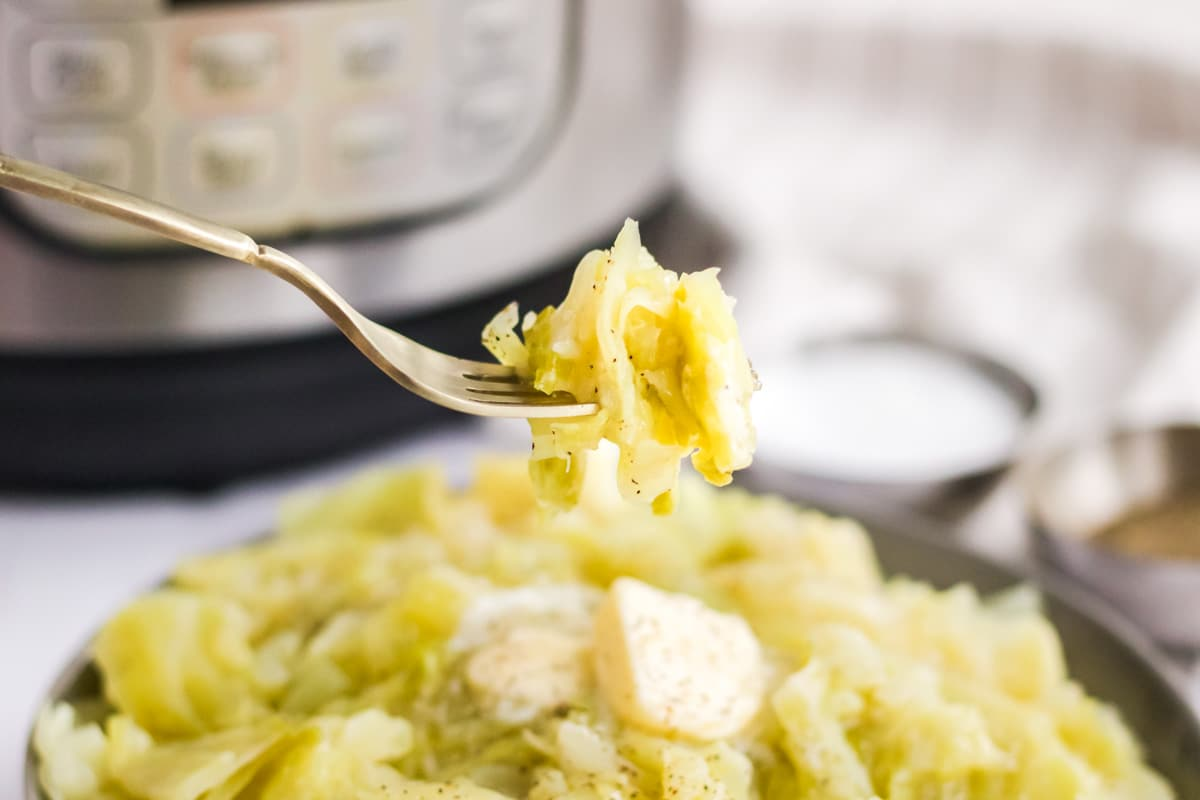 instant pot cabbage on a fork