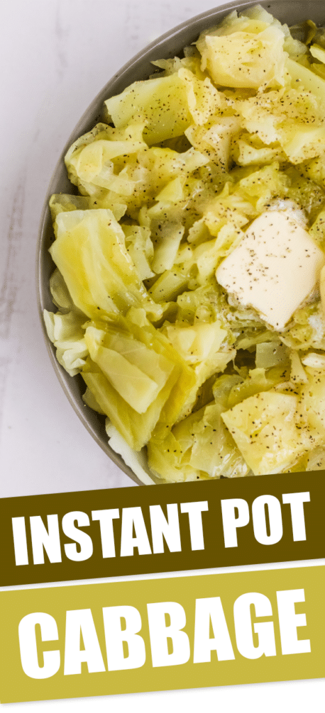 instant pot cabbage in a bowl with text that reads instant pot cabbage