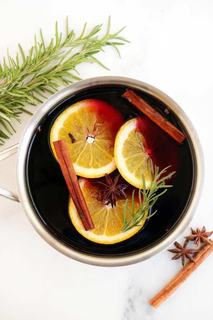 mulled wine cooking in a pot