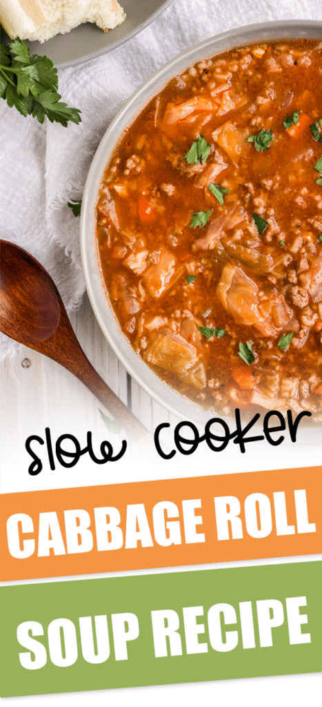 pan of slow cooker cabbage roll soup with text that reads slow cooker cabbage roll soup