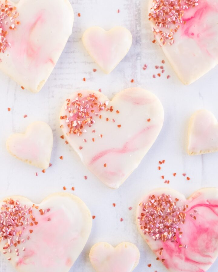 Marble Iced Valentines Cookies on a white background