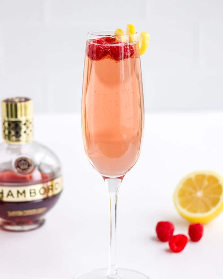 A Chambord and Champagne Cocktail.