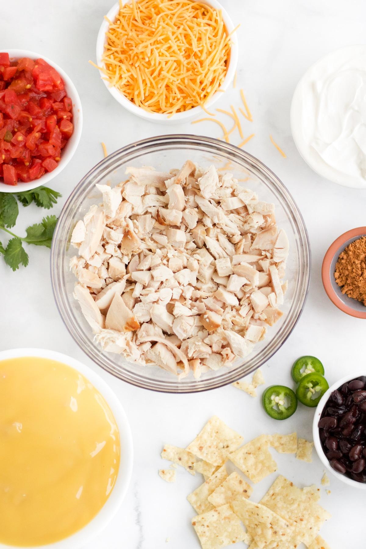 Ingredients to make chicken taco casserole recipe