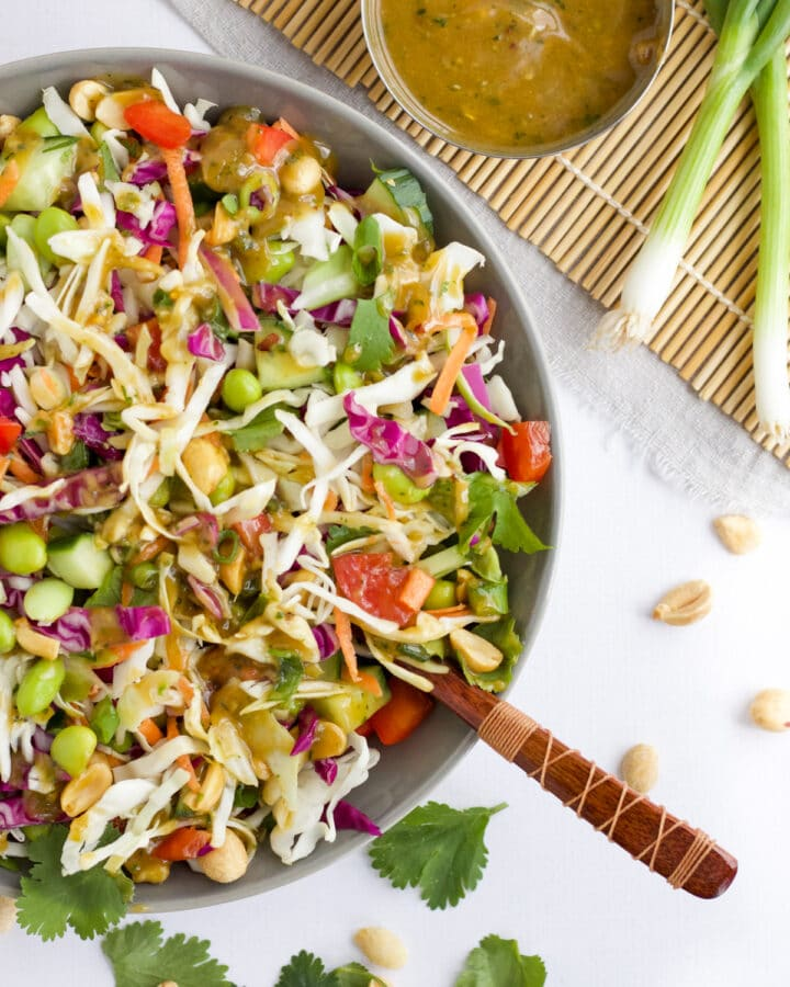 Thai Salad in a grey bowl with dressing on the side.