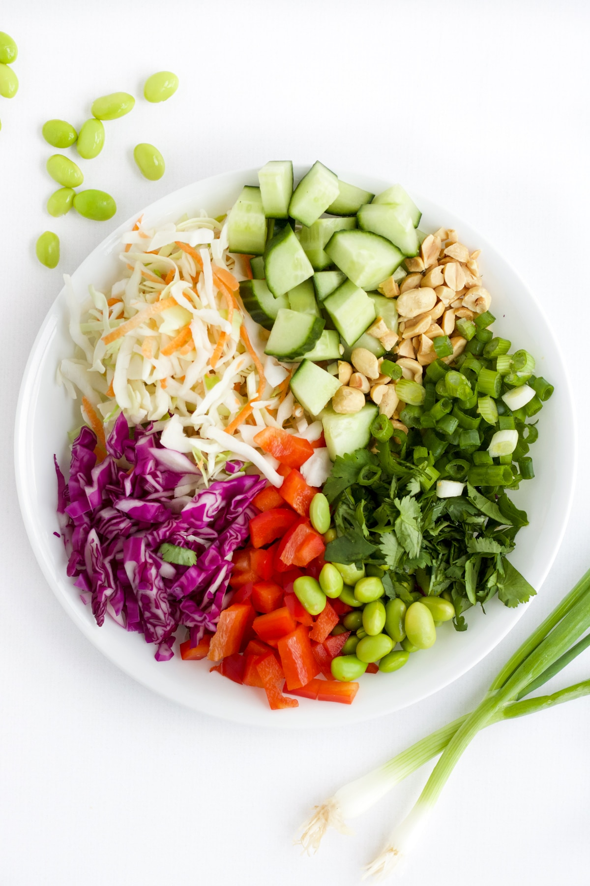 Overhead image of ingredients to make Thai salad in a white bowl.